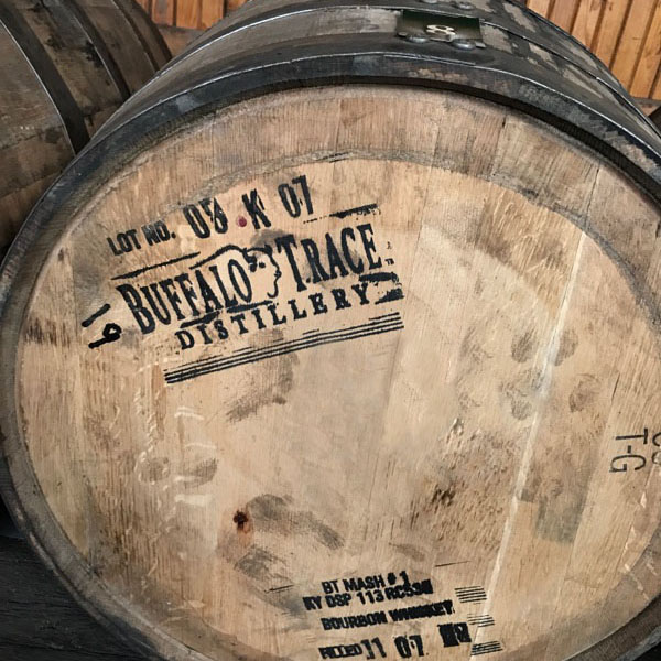 Barrel of buffalo trace bourbon